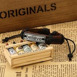"""""""Believe"""" armbånd i Faux læder - Sort bånd"""